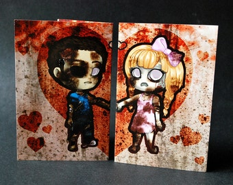 Cute zombie couple apocalypse valentine card with matching BFF halloween charms - kawaii chibi zombie gift alternative valentines