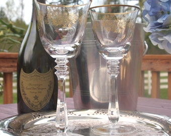 Vintage Crystal Wine Glasses Goblets Spiegelau Crystal Set of 2 with Tags - West Germany w/ Gold Flowers and Trim    Stemware Wedding Gift
