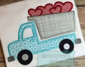 Heart Dump Truck Machine Embroidery Applique Design