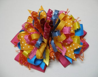 Fun Multi Color Party Hair Bow Korkers Large Unique Big Boutique Toddler Girl