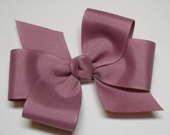 Antique Mauve Pink Hair Bow 5 inch Simple Traditional Basic Classic Style Toddler Girl
