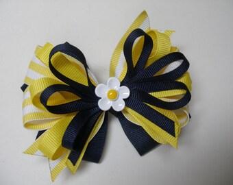 Sunny Yellow and Navy Blue Daisy Hair Bow