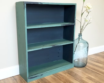 Blue Bookshelf, Wooden Book Stand, Shabby Chic Bookcase, Storage Shelf, Painted Bookshelf