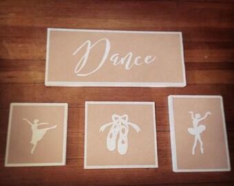Girls Ballet Dance 4/pc Wall Art