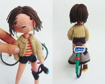 customized portrait of yourself and your bike crochet amigurumi textil art embroidery gift lovely love lovers handmade craft detail