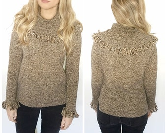 Vintage camel tan cowl neck sweater pullover sweater fringed sweater size small