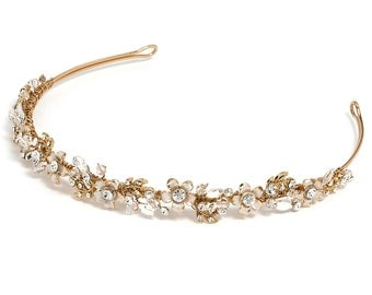Gold Bridal Headband, Bridal Hair Accessory, Rhinestone Headband, Floral Bridal Headpiece, Gold Wedding Headband, Gold Headpiece ~TI-3137-G