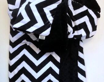 Black Chevron Blanket, Minky Baby Blanket, Crib Size Blanket,Chevron Crib Bedding, Boy or Girl Blanket,   36 x 45 in
