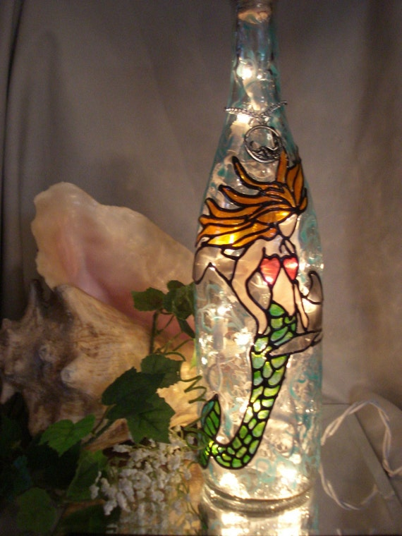 Mermaid Dolphin Recycled Wine Bottle Accent Lamp