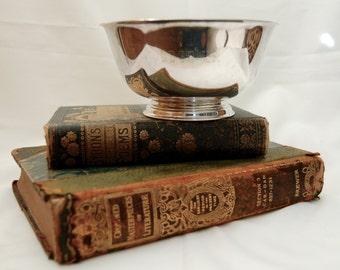 Vintage Silver Plate Bowl Paul Revere Sixties Engraved