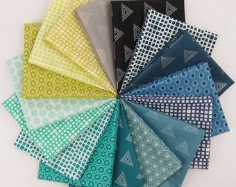 Art Gallery Elements Fat Quarter Bundle in Cool - Art Gallery Fabrics - 16 Fat Quarters - 4 Yards Total