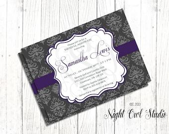 Bridal Shower Invitation-Damask-Charlcoal-Grey-Purple-Wedding Shower-Printable-Invite