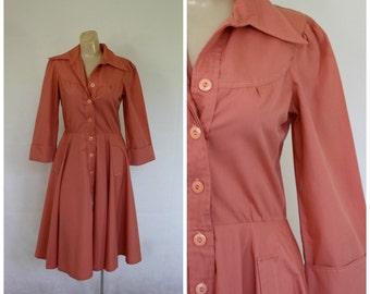 Shirt Dress / Vintage Dress / Melon Dress / Swing Skirt Dress / Office Dress / Day Dress