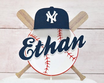 Baseball Cake Decoration with Name /  Ball and Bat theme layered Cake Topper Sign Personalized / Party Cake decor / baseball cap with logo