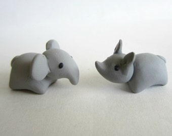 Miniature Rhino and Elephant Clay Sculptures