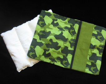 Handmade Warming Rice Pillow with Removable Flannel Cover - Green Camouflage Print