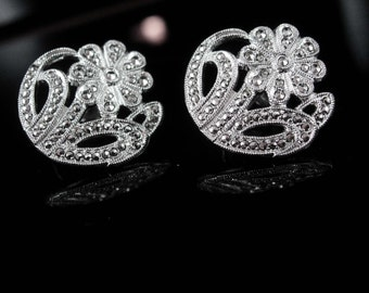 Antique sterling Earrings Mourning flowers Marcasite Sparkling KD screw on wedding bridesmaid gift ladies silver jewelry