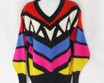 Vintage ladies Avon Fashions black multi colored retro zig zag patterned sweater