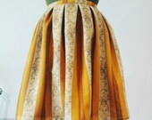 Mustard yellow and cream skirt from vintage fabric. Plus size UK 16 us 12. Fabulous party skirt, evening or cocktails.