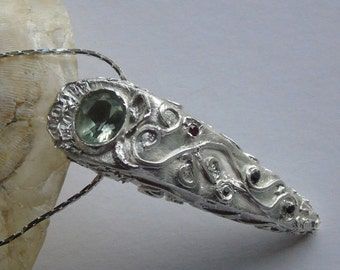 Silver Metal Clay Necklace. Ornamented Necklace with Green Amethyst.