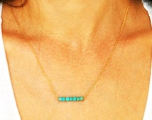 Turquoise necklace, bridesmaid necklace, turquoise gold necklace, gift for her, turquoise and gold, gold necklace, weddings