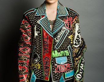 Studded Punk Jacket - Fear Misfits D.O.A Exploited