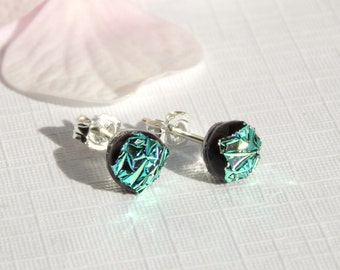 Tiny Glass Stud Earrings - Emerald Green Dichroic Glass Post Earrings on 925 Sterling Silver Posts - Fused Glass Jewelry