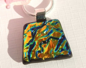 Golden Dichroic Glass Pendant - Fused Glass Jewelry - Glass Necklace