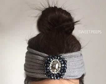 Jewel Knit Turban Headband, Knit Headband, Knit Beanie, Turban, Cute Turban Headband, Ear Warmer, Winter Hairband
