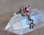 Indian toe ring flower silver brass pink glass bells ring, toe or finger traditional dangle boho style