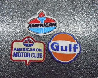 Three Collectible Oil Gas Station Company Uniform Patches Gulf, American & American Motor Club Vintage Jacket Emblem
