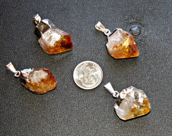 Citrine Crystal Point , One Raw Citrine Crystal Point Pendant  ,Citrine Pendant , A019