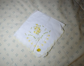 Vintage White Hankie with Yellow and White Flowers Never Used
