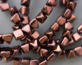 6mm Czech Glass Jet Purple Luster Pyramid Stud Beads, 25 Beads, Jet Purple Luster 6mm Stud Beads, 3290, Jet Purple Luster Pyramid Beads