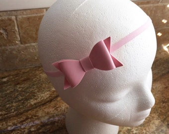 Small Pink Faux Leather Hair Bow Headband / Hair Clip, Baby Girl Hair Bow Headband, Girls Hair Bow Headband / Hair Clip, Infant Girl Bow