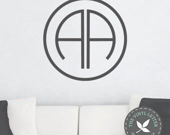 Circle Modern Double Monogram Vinyl Wall Decal Sticker | Family Name