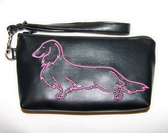 Elegant Black Clutch/Wristlet with Pink Long Hair Embroidered Dachshund