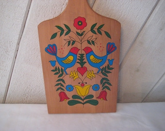 Vinatge folk art cutting board, love birds cutting board, hand painted, hanging kitchen decor, wedding present, wall art