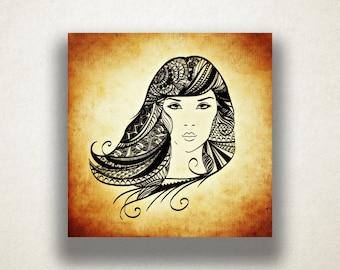Woman's Portrait Canvas Art Print, Artistic Wall Art, Female Canvas Print, Artistic Wall Art, Canvas Art, Canvas Print, Home Art, Wall Art