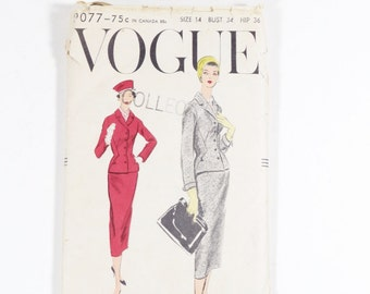 Vogue Power Suit Pattern, Vintage 1957 Size 14 Suit Sewing Pattern 9077 - Vogue Pattern - Vintage Vogue - 50s Suit - Wiggle Slim Suit
