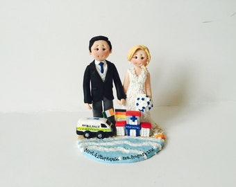 Beach Theme Wedding Cake Topper with ambulance and hospital- Custom made wedding cake topper with profession/job props