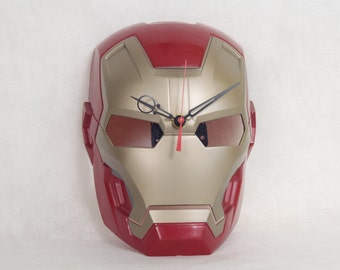 Wall Clock made from Iron Man Mask, Toy, Geekery, Red Wall Clock, Childrens Bedroom Decor,  Clocks by DanO