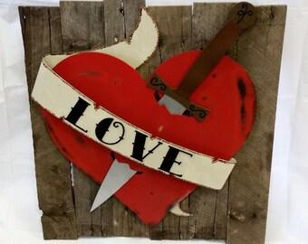 Tattoo Inspired Wall Decor - Heart and Dagger