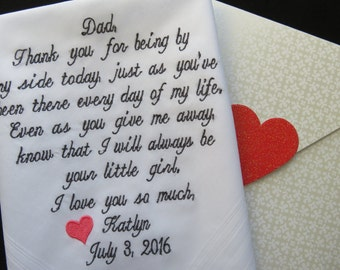 father of the bride hankerchief wedding handkerchief embroidered customized wedding hankies father