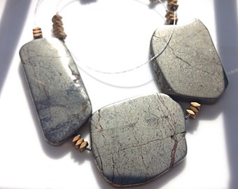 Statement Necklace Silver and Gold | Pyrite | Bold