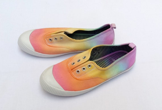rainbow shoes hippie shoes canvas shoes in size 6 pastel