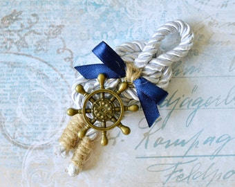 Nautical wedding boutonniere, Anchor boutonniere, Rudder lapel pin, Groom, Groomsmen, Buttonhole, Beach wedding, Lapel Pin, Rope