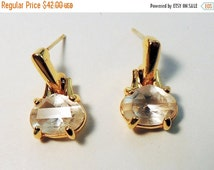 Sizzlin Summer Sale Vintage Swarovski Crystal Gold washed Post Dangle Earrings Swan Hallmark