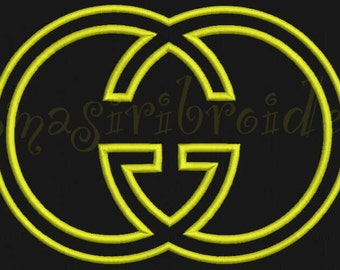 GG Applique and Filled Embroidery Design