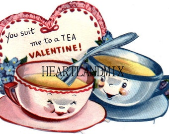 Vintage Valentine Card Download Art Graphic Image printable cup of tea
